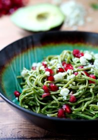 Nutrient-rich Edamame Spaghetti coated in a creamy avocado pesto is bursting with flavor, and comes together so easy and quick, in only 15 minutes! (vegan & gluten-free)