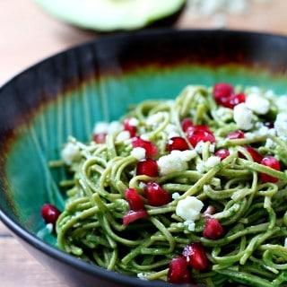 15-Minute Edamame Spaghetti with Avocado Pesto