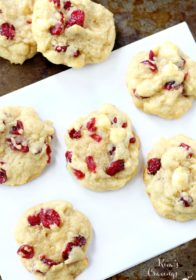 Christmas Cookies with cranberries and white chocolate chips on a baking sheet