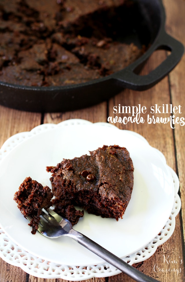 Ooey, gooey, irresistible simple skillet avocado brownies baked up in an iron skillet for extra deliciousness! (paleo, grain-free and dairy-free)