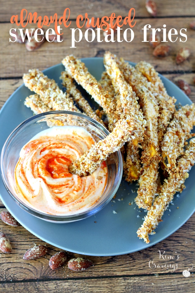 Almond Crusted Sweet Potato Fries dipped in Creamy Sriracha Sauce- the absolute perfect game-day appetizer for the health conscious!
