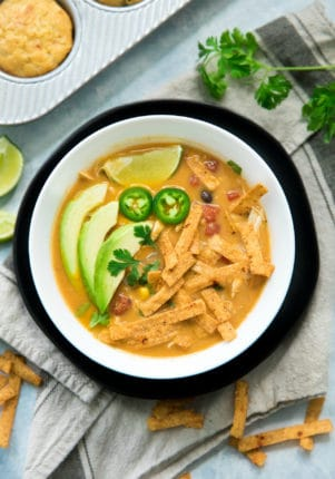 tortilla soup served with cornbread muffins