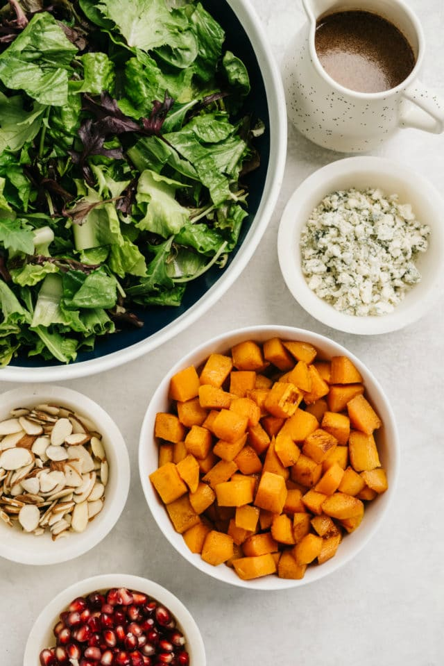 ingredients for a Thanksgiving salad with butternut squash, almonds and cheese
