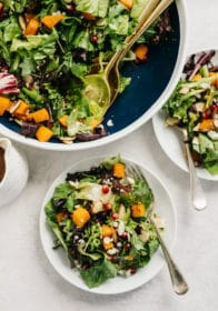 salad with butternut squash and pomegranate seeds