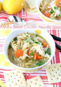 Loaded with good-for-you ingredients and full of flavor and comfort- you guys are going to love this gluten-free copycat Panera Bread chicken noodle soup!