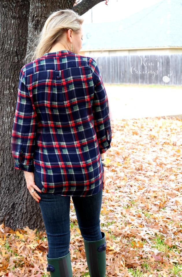 Colibri Plaid Printed Tab-Sleeve Shirt by Market & Spruce   XS   48.00   Keep