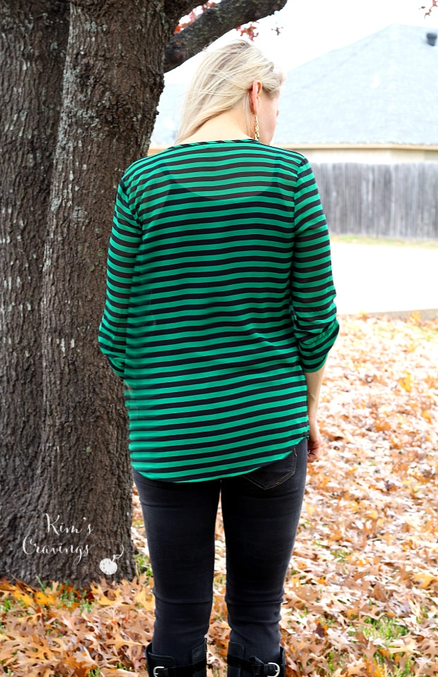 Ivy Striped Tab-Sleeve V-Neck Blouse by 41Hawthorn | XS | 68.00 | Keep
