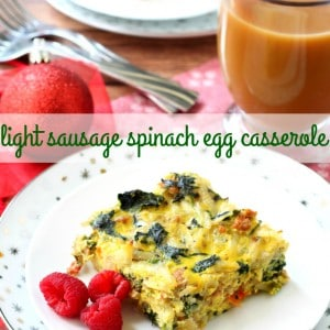 This Light Sausage Spinach Egg Casserole is the perfect make-ahead breakfast to enjoy Christmas morning! (gluten-free & dairy-free)