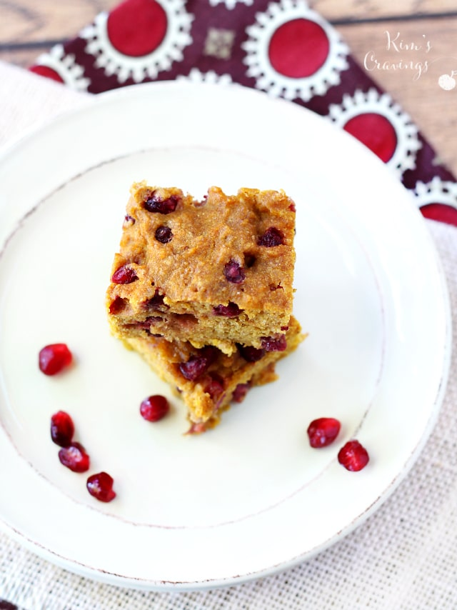 Enjoy a taste of the holidays in every bite of these incredibly moist flavorful Pumpkin Pomegranate Blondies! These blondies are seriously addicting and at only 68 calories per bar, there's no shame in indulging in more than a few of these scrumptious treats.