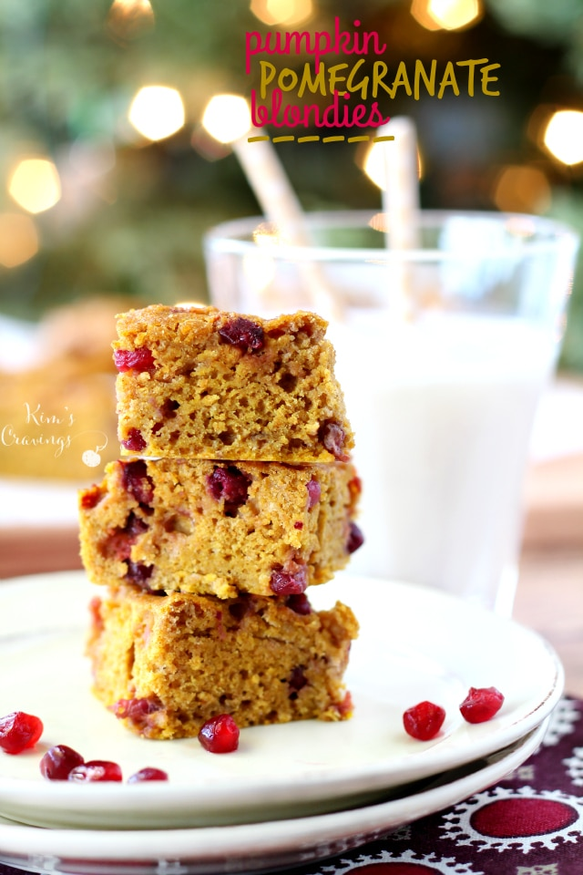 Enjoy a taste of the holidays in every bite of these incredibly moist flavorful Pumpkin Pomegranate Blondies!