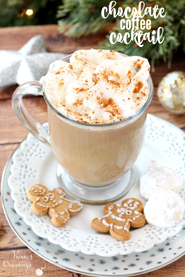 Chocolate Coffee Cocktail- a delicious mix of caffeine, dessert and danger! Whether you're entertaining over the holidays or just craving an extra special drink after dinner, this cozy spiked coffee is velvety, smooth and irresistible!