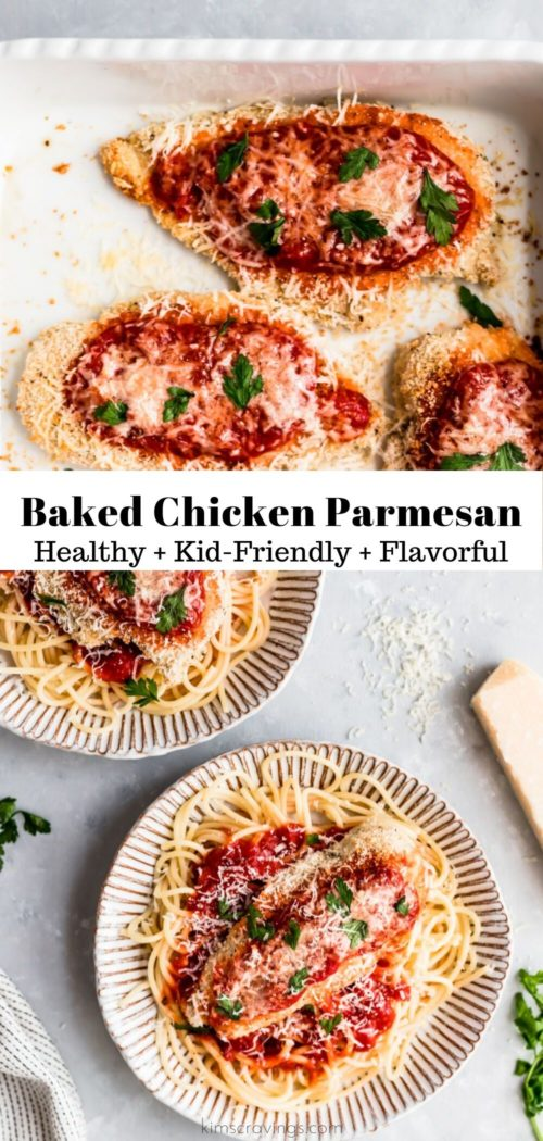 easy baked chicken parmesan served over spaghetti