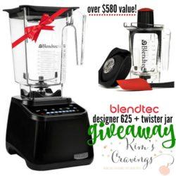 Enter to win the best blender on the market- Blendtec Designer 625 and Twister Jar! A value of over $580!