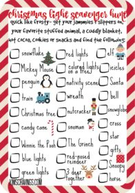 Every year, my family has such a fabulous time snuggled in our pjs, with hot cocoa and Christmas cookies, scouting out everything on our Christmas Light Scavenger Hunt. Enjoy!