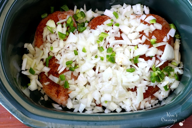 It doesn't get much easier than Slow Cooker Tex Mex Chicken- throw chicken, taco seasoning, chopped onion, minced jalapeno and RO*TEL in your slow cooker for an easy, hassle-free, flavorful meal!