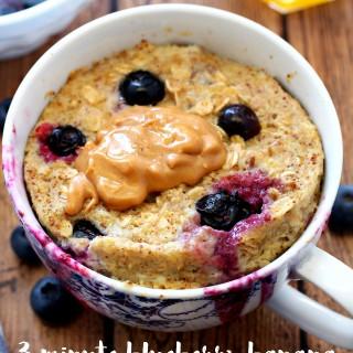 Blueberry Banana Microwave Baked Oatmeal in a Mug
