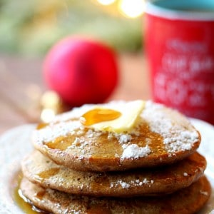 These fluffy Skinny Gingerbread Pancakes are bursting with warm winter spices. Serve them up, along with your favorite coffee for the most perfect seasonal treat!