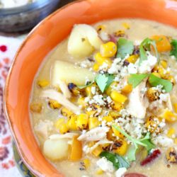 When the evenings turn cool, there's almost nothing better than a cozy bowl of soup or chilly. I'm talking a big steamy bowl of creamy, salty, sweet, chunky, dairy free corn chowder! (gluten free, dairy free and can easily be made vegan)