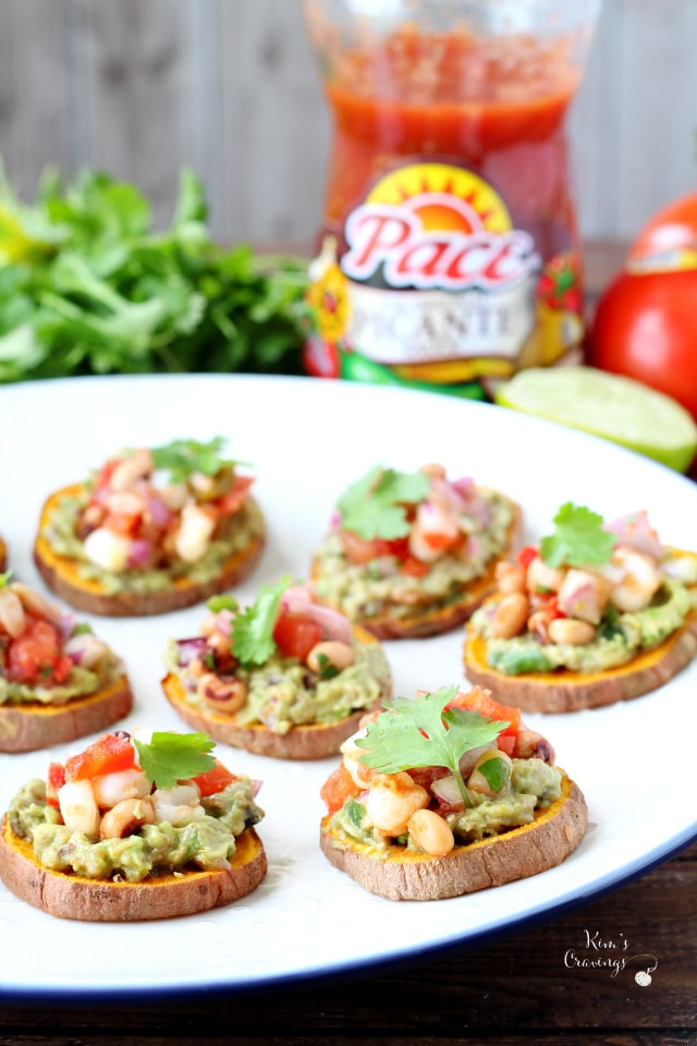 Sweet Potato Bites topped with my favorite guacamole and a spoonful of cowboy caviar- oh my goodness, you guys are going to absolutely love this fun and festive appetizer!