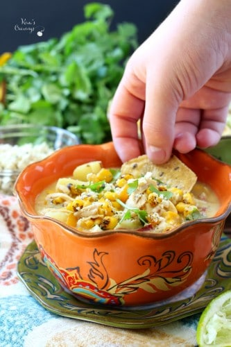 When the evenings turn cool, there's almost nothing better than a cozy bowl of soup or chilly. I'm talking a big steamy bowl of creamy, salty, sweet, chunky, dairy free chipotle chicken corn chowder!