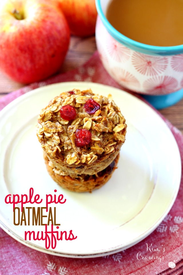 Baked oatmeal in muffin form filled with warm fall spices, wholesome ingredients and all of the lovely flavors of apple pie. These Apple Pie Oatmeal Muffins are made healthy, dairy-free, gluten-free and low-calorie, so you can get your apple pie fix first thing in the morning!