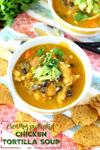 Delight your tastebuds with hearty comforting Creamy Pumpkin Chicken Tortilla Soup! Made with pumpkin puree and Greek yogurt, so it's thick and velvety. This tortilla soup is also quite the flavor explosion- whipped up with guilt-free delicious ingredients.