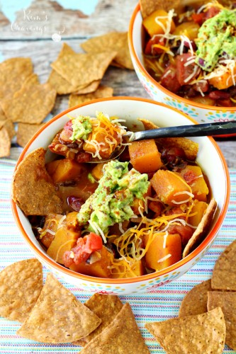 "Soup season excitement is in the air! And this Hearty Vegan Butternut Squash Chili with beans and tomatoes has gained status on this here blog as my new favorite chili recipe and the hubby would agree. Can you believe this no-meat chili is my ""bison-obsessed"" husband's favorite chili? There are no words…."