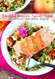 Shredded brussels sprouts salad mixed with a lovely maple balsamic vinaigrette and topped with pan-seared salmon- crispy, crunchy and bursting with fresh sweet and savory flavors.