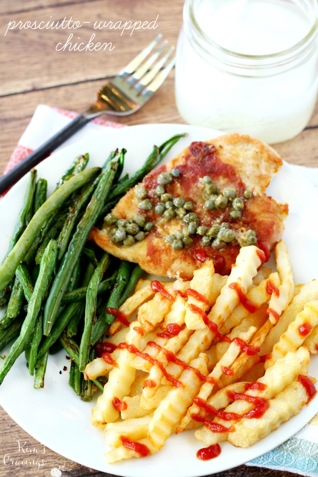 Prosciutto-Wrapped Chicken is a quick, yet flavor-packed recipe topped with an easy and yummy lemon caper pan sauce. Served with my favorite Alexia Crinkle Cut Fries and roasted green beans, this family-friendly meal comes together in less than 30 minutes.