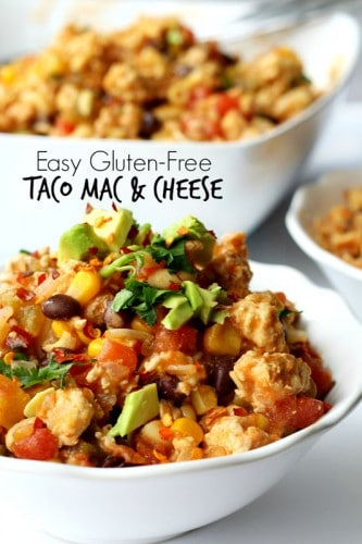 This easy gluten-free taco mac and cheese is a super quick and oh so tasty Mexican-inspired meal that's sure to be a family favorite and a recipe you'll want to whip up again and again!