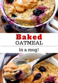 baked oatmeal in a mug and topped with peanut butter