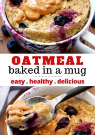 blueberry banana oatmeal baked in a mug
