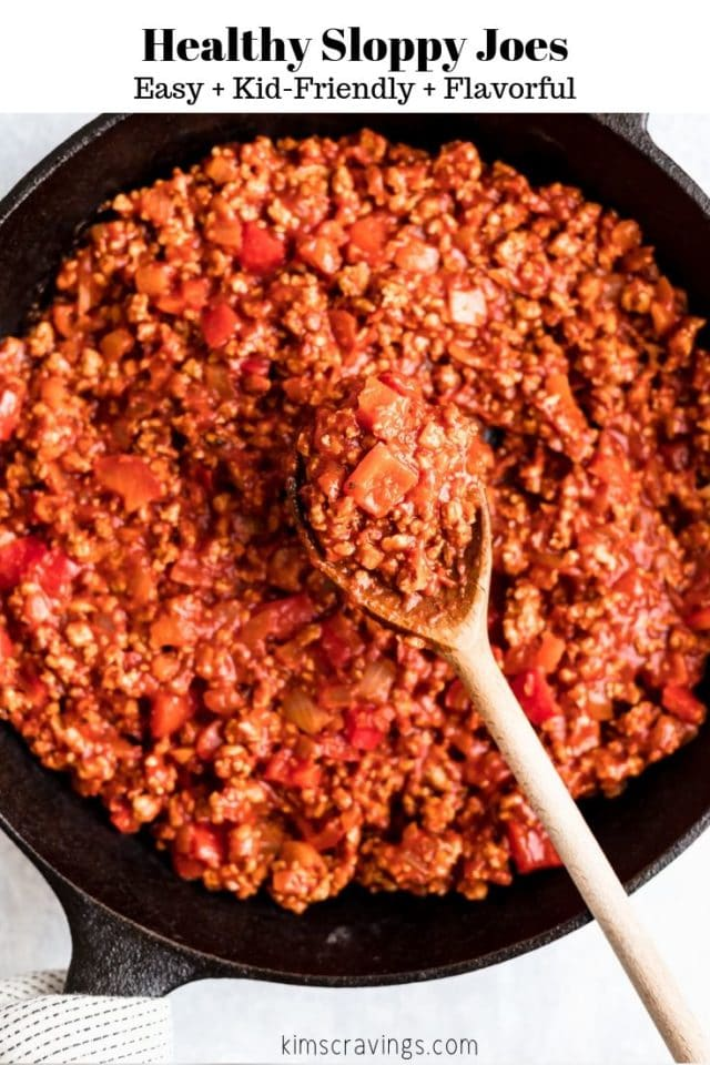 Healthy Sloppy Joe filling cooked in a large skillet