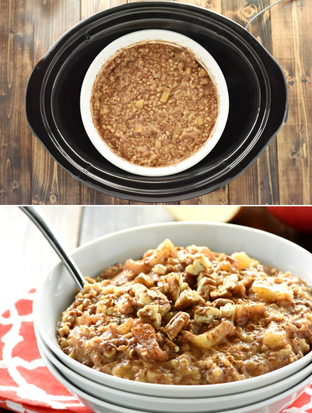 Apple Pie Steel Cut Oatmeal- Forget standing by the stove stirring oatmeal; let your slow cooker do all of the work while you're sleeping.