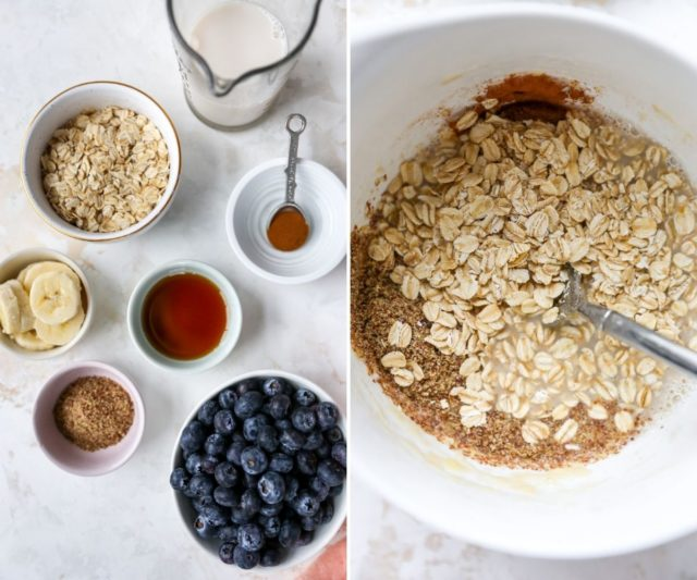 ingredients for microwave baked oats with blueberries