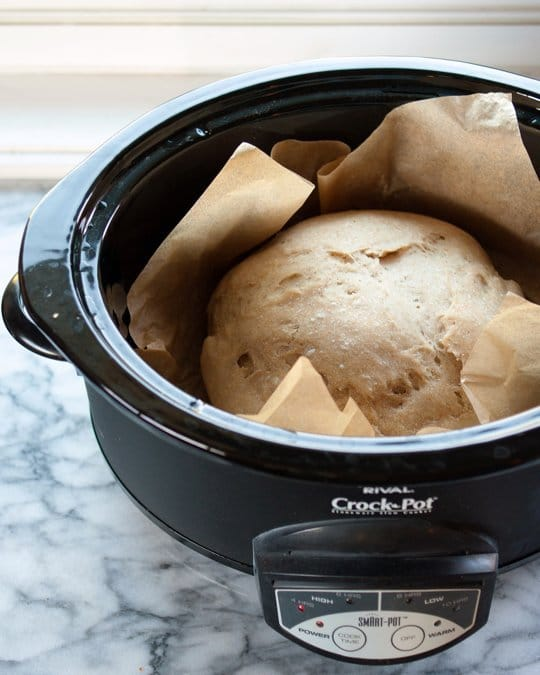 A loaf of fresh, warm, homemade bread straight from the slow cooker. This I gotta try!