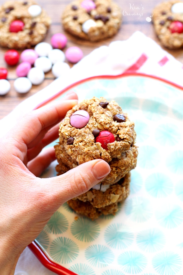 The perfect combination of my favorite foods- these Healthier Flourless Monster Cookies are a cookie monster's dream- gluten-free and made with mostly wholesome ingredients. Beware, though, there's no way you can eat just one!