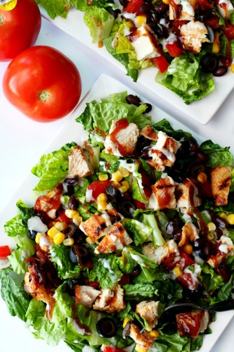 This grilled chicken barbecue salad is a party on your plate and full of mind-blowing flavor. It's a smart salad that comes together super quick and will please the whole family!