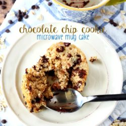 A quick and easy Chocolate Chip Cookie Microwave Mug Cake that can be yours in less than 5 minutes, from start to finish and tastes just like a chocolate chip cookie. (gluten-free and healthy)