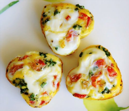 heart shaped frittatas