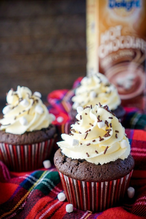 15 Cozy Hot Cocoa Dessert Recipes- Hot Chocolate Cupcakes