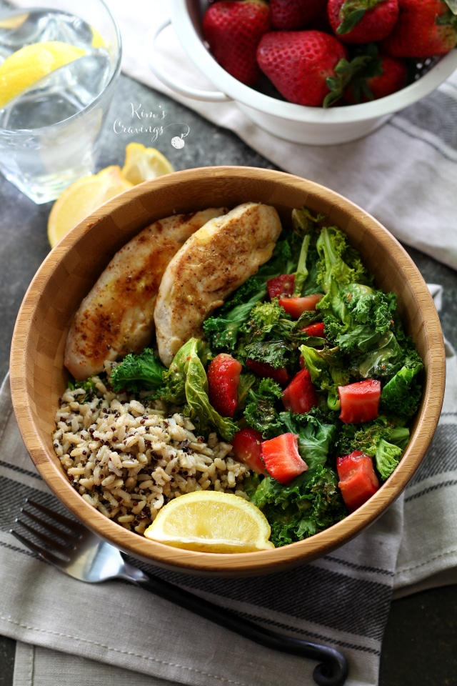 Toasted Kale Salad with Chicken and Lemon Dijon Dressing