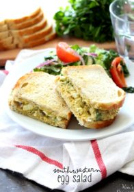 Southwestern Egg Salad- a tasty Tex-Mex twist on the classic egg salad recipe that can be served as an appetizer with tortilla chips, a side dish or as a lovely stuffing for wraps and sandwiches.
