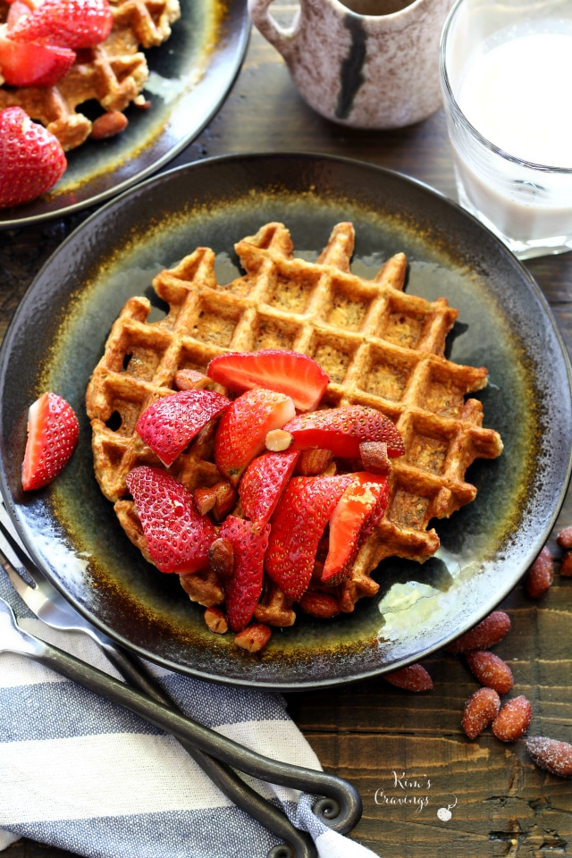 Healthy Gluten Free Banana Oat Waffles are light, crispy-on-the-outside, fluffy-on-the-inside, clean eating waffles. They will satisfy your waffle craving while you stay on track with health/fitness goals!