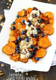 Serving up crispy Breakfast Sweet Potato Nachos with Van's Soft-Baked Granola- a fun, delicious, nutritious way to start your day! (gluten-free)
