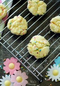 Gluten Free 3 Ingredient Funfetti® Cookies that are soft, chewy and super delicious. So simple, too, easy enough to let the kiddos help!