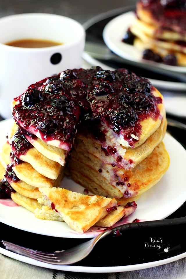 Gluten free goodness meets beautifully fluffy, golden brown, scrumptious pancakes with double berry chia seed jam syrup.