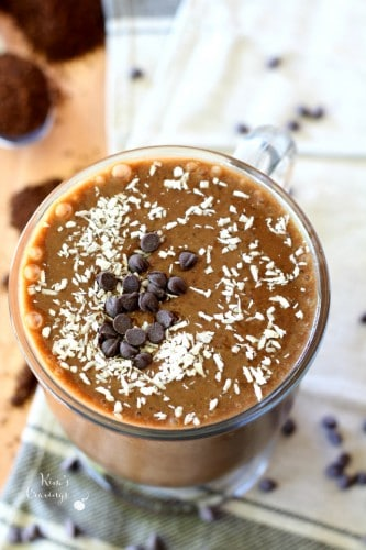 This Chocolate Mocha Protein Shake is a coffee lovers dream that will perk you up with enough caffeine to elevate your morning workout! (vegan, gluten-free and dairy-free)