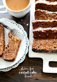 Slices of Gluten Free Carrot Cake Bread served with coffee