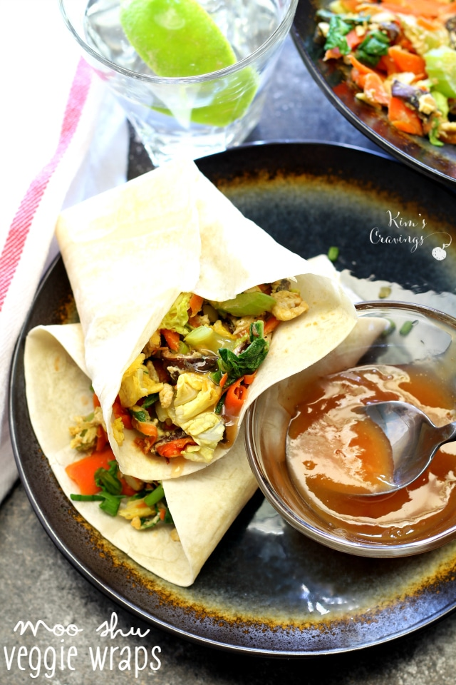 Moo Shu Veggie Wraps are a vegetarian spin on the classic Chinese stir-fry dish. Sautéd shiitake mushrooms, carrots and cabbage­ are wrapped in moist, delicate Chinese pancakes.